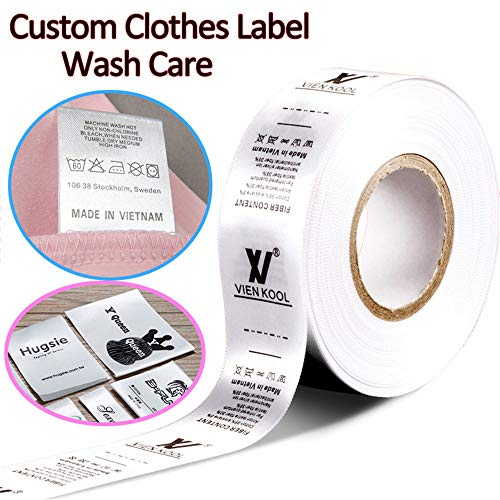 100pcs Custom Printed Satin Ribbon Fabric Label Sew On Clothes Name Brand Tag Wash Care]()