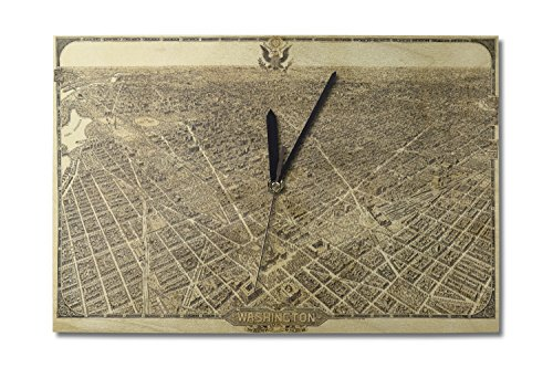 (Lantern Press District of Columbia, Washington - Panoramic Map (10x15 Wood Wall Clock, Decor Ready to Hang))
