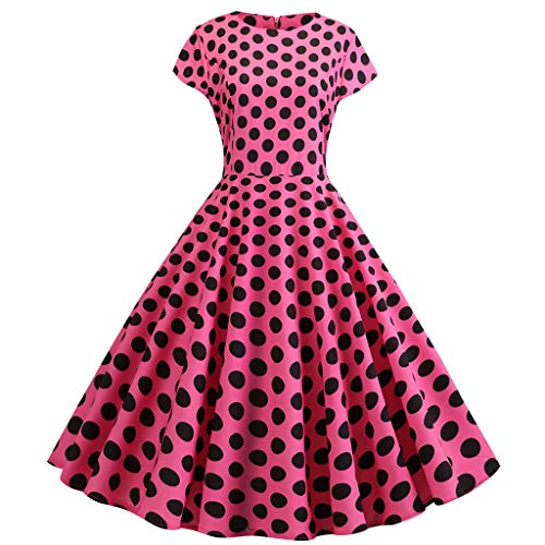 Aunimeifly Women's Retro Polka Dot Short-Sleeved Round Neck A-Line Large Swing Princess Dress Hot Pink