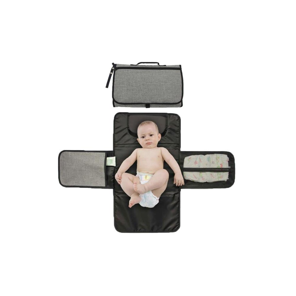 Zoda Baby Portable Diaper Changing Pad Travel Diaper Changer Mat for Home, Travel & Outside,Waterproof Diaper Changing Station with Head Cushion,Mesh Pockets, Lightweight and Foldable Changing kit
