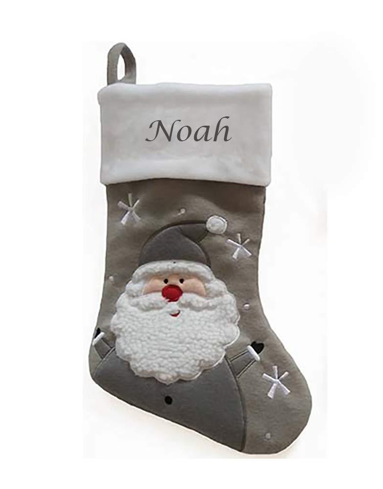 Personalised Embroidered Christmas Stocking Traditional Santa Boot Santa