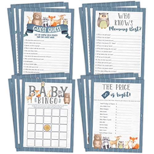 Woodland Baby Shower Games, 25 games each Bingo, Find The Guest, The Price Is Right, Who Knows Mommy Best, Forest Animals Bear, Deer, Raccoon, Owl (Baby Shower Bingo Owl)