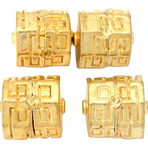 18g Octagon Barrel Bali Beads Gold Plt 13.5mm Approx 4 -