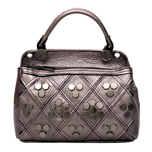 Hiver Automne Et Layer Single Handbag Shoulder Cowhide Rivet Haoyuxiang Mode Cuir Champagne black E1qRC