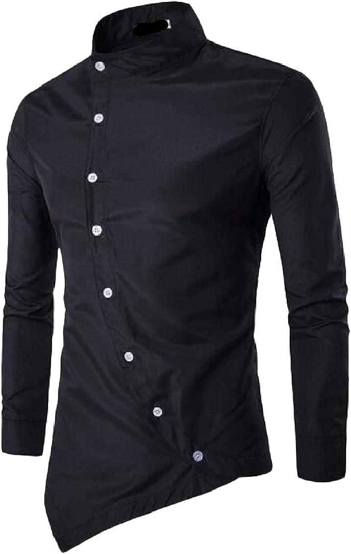 Hajotrawa Mens Oblique Button Front Stylish Long-Sleeve Slim Fit Shirts