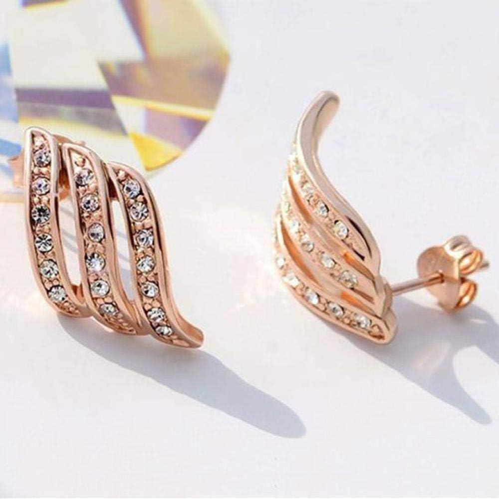 Pendientes de peridoto de oro rosa para mujer Anillo de bodas Joyas Piedras preciosas Topacio amarillo Pendientes de diamantes con tachuelas Joyas