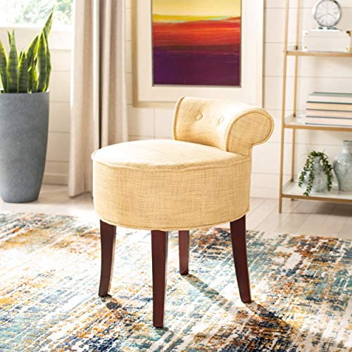 Safavieh Home Collection Georgia Gold and Cherry Mahogany Petite Vanity Stool