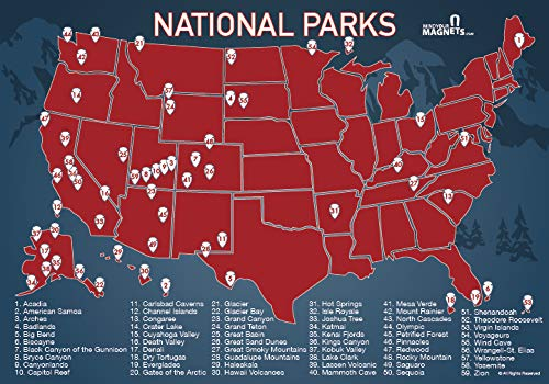 US National Parks Map Fridge Magnet - Travel Map of the United - Import It  All