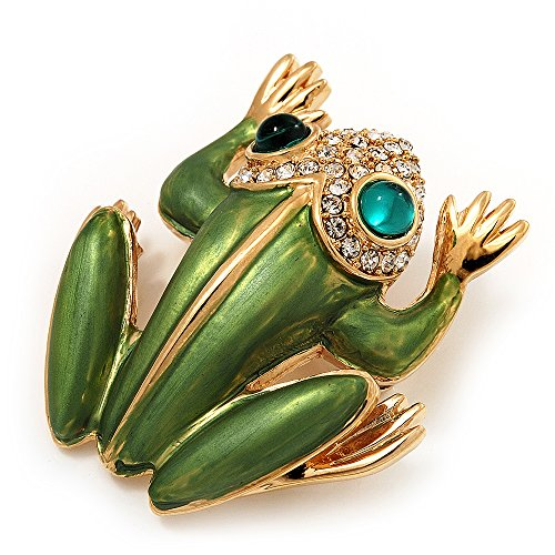 Large Bright Green Enamel Swarovski Crystal 'Frog' Brooch In Gold Plated Metal - 4.5cm Length (Brooch Crystal Frog Swarovski)