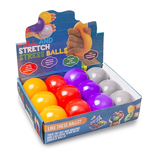 KELZ KIDZ Durable Pull and Stretch Stress Squeeze Ball - Great and Fun Squishy Party Favor Fidget Toy - Excellent Sensory Relief for Tension and Anxiety (12 Pack, Large) -