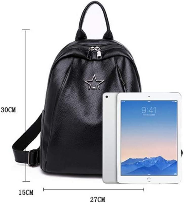 Ambiguity Ladies Backpacks Travel,Pu Soft Leather Backpack Large Capacity Travel Backpacking Simple College Wind Student Schoolbag 30x15x27cm