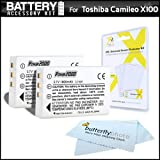 2 Pack Battery Kit For Toshiba Camileo X100 H30 Full-HD Camcorder Includes 2 Extended (1850Mah) Replacement PX1657 Batteries + LCD Screen Protectors + MicroFiber Cleaning Cloth