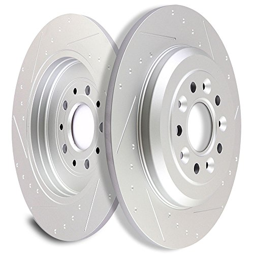 SCITOO Brakes Rotors 2pcs Front Drilled Slotted Discs Brake Rotors Brakes Kit fit 2001-2007 Chrysler Town Country,2001-2003 Chrysler Voyager,2001-2007 Dodge Caravan,2001-2007 Dodge Grand Caravan