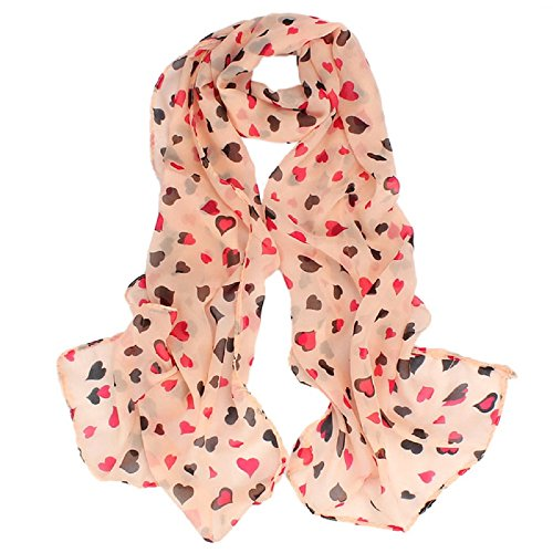 UPLOTER Women Girls New Love Heart Soft Long Shawl Scarf Wrap Stole (Pink)