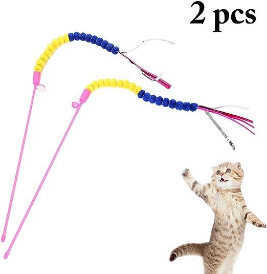 Legendog 2 Piezas De Gato Teaser Varita Colorida Juguete para Gatos De Juguete para Mascotas Juguete De Juguete para Gatos: Amazon.es: Productos para mascotas