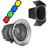 Aputure Fresnel Lens Mount with Barn Door Honeycomb Grid and 4 Color Filters for Aputure COB 300D 120D 120T Light Storm LS C300D- Including Pergear Cleaning Kit