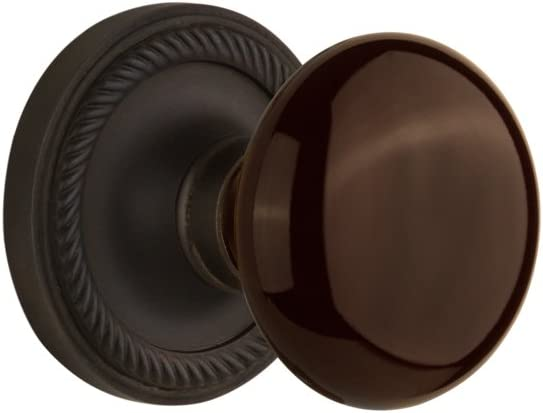 Direct sale of manufacturer Nostalgic Warehouse Rope Rosette with Recommended Pass Brown Porcelain Knob
