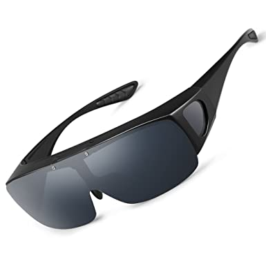 60d353ec7e Image Unavailable. Image not available for. Colour  WELUK Polarized Lens Over  sunglasses Wraparound Flip Up Fit ...