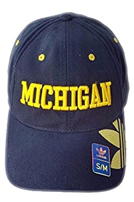 Michigan Wolverines Navy adidas Hat Cap Flex S/M Curve Bill