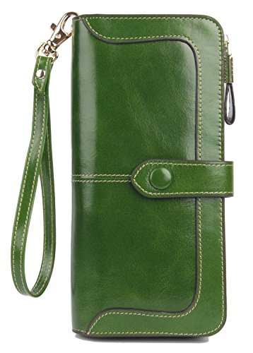 Anvesino Women's RFID Blocking Large Capacity Leather Clutch Wallet Zipper Purse Ladies Credit Card Holder Organizer(1-Waxed Green) -