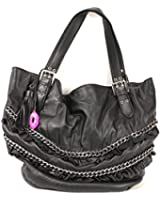 Betsey Johnson Get Ruff To It Leather Shopper Tote (Black)