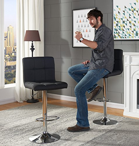 IDS Online MLM-18574 Kitchen Chair Furniture Fabric Swivel Bar Stool, Fabric Gray
