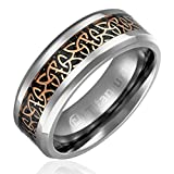 8MM Comfort Fit Titanium Wedding Band | Engagement Ring with Rose Gold-Plated Celtic Knot Triquetra over Black Carbon Fiber Inlay | Beveled Edges