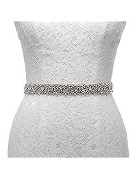 AW Rhinestone Wedding Dress Belt Bridal Bridesmaid Sash Belt, Black