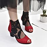 AIMTOPPY HOT Sale, Zip Ladies mesh high-heeled shoes with chunky lace fish mouth Casual Open Toe Lace Party Singel Shoes (US:9, Red)