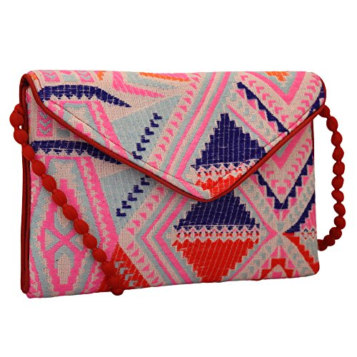 Unique Red Combo - Handloom and Jacquard Fabric Evening Bag Clutch Purses for Women Color Pink Red Combo