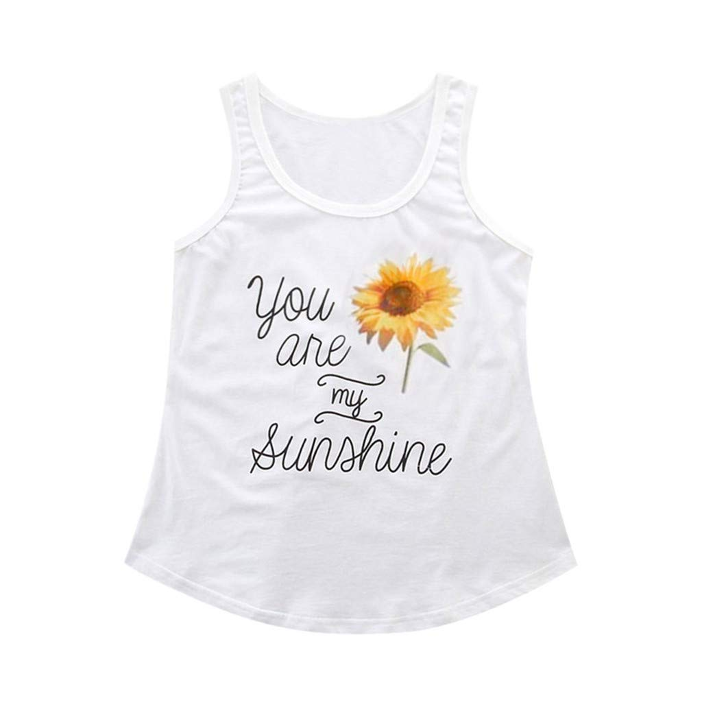 HHei_K Parent-Child Outfit Women Sleeveless Letter Sunflower Printed Vest Mother Mommy Tank Tops Family Clothes