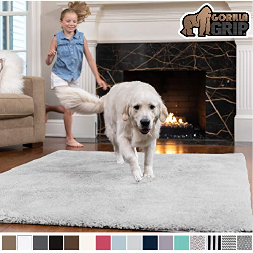 Gorilla Grip Original Faux-Chinchilla Area Rug, 4x6 Feet, Super Soft and Cozy High Pile Washable Carpet, Modern Rugs for Floor, Luxury Shag Carpets for Home, Nursery, Bed and Living Room, Light Gray (Bedroom Rugs Soft)