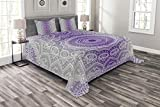 Eastern King Size Bedspreads Ambesonne Grey and Purple Bedspread Set King Size, Ombre Mandala Abstract Eastern Religious Art Cosmos Theme Sign Design Print, Decorative Quilted 3 Piece Coverlet Set with 2 Pillow Shams, Violet