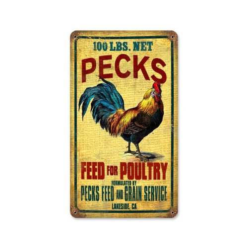 Sign Feed Store Tin (Rooster Feed Poultry Vintage Metal Sign Farm Hen Chicken 8 X 14 Not Tin)