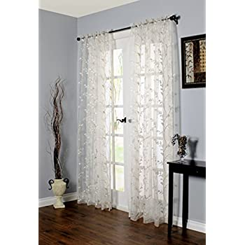 Venice Embroidered Sheer Rod Pocket Curtain Panel White 55W X