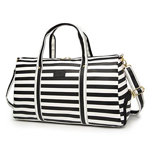 (Elenture Weekender Tote Bag Leather Travel Duffel Bag Overnight Carry Bag (Black/White Stripe))