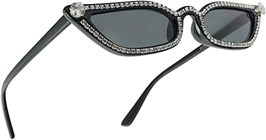 Half Rim Cat Eye Sunglasses Rhinestone Bling Eyewear Ladies Fashion Shades 2018