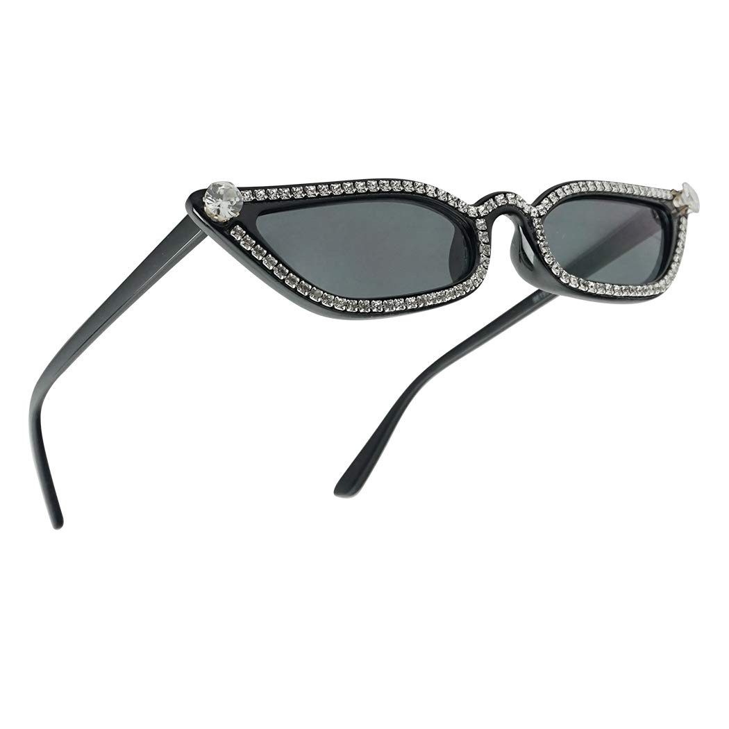 SunglassUP Retro Vintage Small and Narrow Pointed Cat EyeTinted Lens Sunglasses (Black Frame (Rhinestone) | Black) by SunglassUP