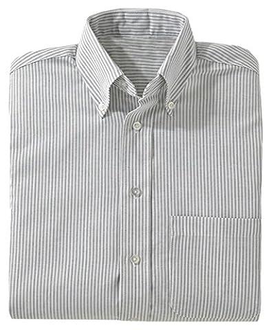 Edwards Garment Women's Easy Care Long Sleeve Oxford Shirt, GREY STRIPE, XL - Edwards Button Down Oxford Shirt
