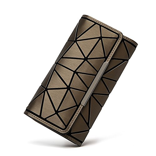 for Geometric Clutch Women Brown Envelope Handbag Evening Leather Wallet Fashion Luminous Party Purse rXX8qE