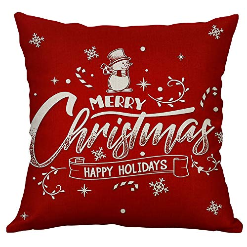 Pgojuni Linen Blend Christmas and Happy Year Throw Pillow Cover Decorative Cushion Cover Pillow Case1pc (45cm X 45cm) (B) by Pgojuni_Pillowcases (Image #1)