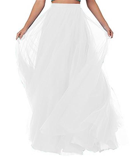 f5ec32b5762 CoutureBridal® Femme Jupe Longue Jupe Maxi pour Soirée Mariage Haute Taille  Tulle Blanc S
