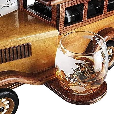 ZKDY El decantador de Whisky Establece el Regalo de 1000 ml con Gafas de Cristal y Soporte de Coche Antiguo de Moda - Whisky Set para Hombres, Usados para Halloween Decantador de Whisky