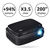 ExquizOn (New Model for World Cup 2018) Projector +94% Brighter X3.5 Clearer Utral HD projector 3500 Lumens 1280 x 800 Support 1080P with HDMI USB AV Interfaces for Home Cinema Game Movie (Q7)