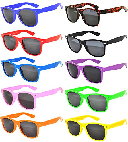 Wholesale Bulk Retro Vintage Smoke Lens Sunglasses 10 Pairs Many Colors Frame OWL (Wayfarer Sunglasses Plastic)