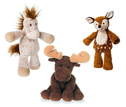 Mozlly Value Pack - Mary Meyer Marshmallow Junior Happy Horse Plush AND Marshmallow Fawn Plush AND Sweet Marlon Moose Plush - Machine Washable - Neutral Gifts - Toddler Stuffed Animals (3 Items) - Moose Marlon