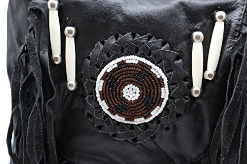 Black Fringe Loop Hip Pouch Red Indians Genuine Leather Boho Cross Body Hip Fanny Bag by Juzar Tapal Collection (Image #1)