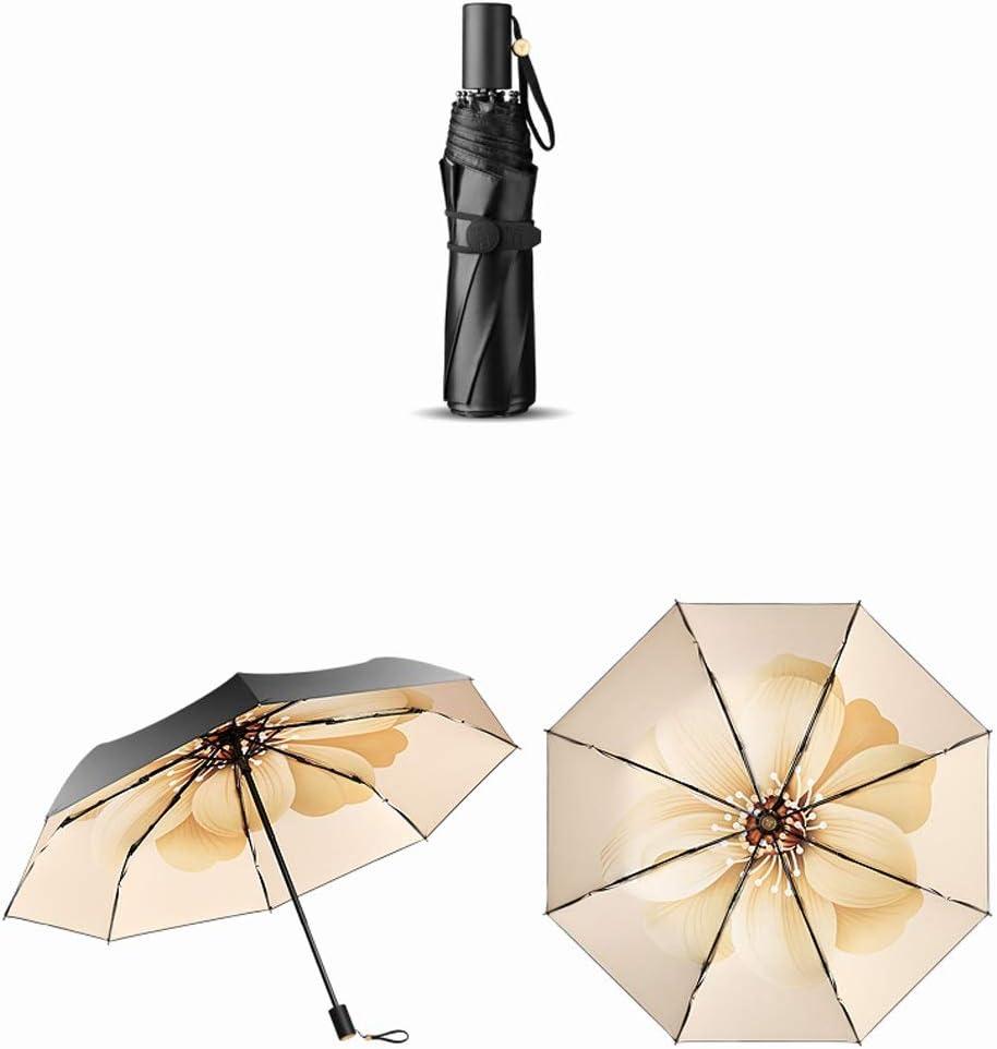 Umbrella Female Anti-UV Small Black Umbrella Folding Umbrella Dual-use Black Plastic Sunscreen Sun Umbrella Sun Umbrella Jiu Si Color : Yellow