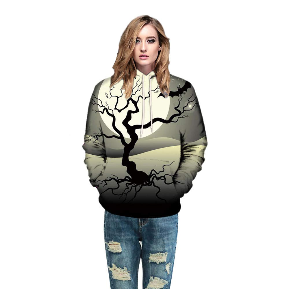 WOCACHI Christmas Halloween Costume Women Hoodie 3D Dead Tree Couples Long Sleeve Pullover Sweatshirt Deal Tops Blouse Shirt Autumn Winter Gray by WOCACHI