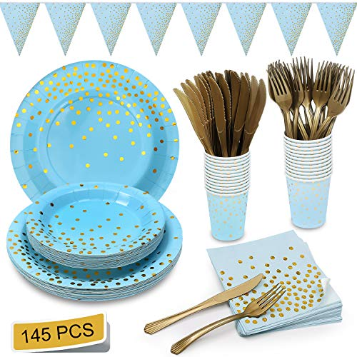 Blue and Gold Party Supplies Golden Dot Navy Themed Party Set Includes Paper Plates Napkins Knives Forks Cups Banner for Baby Shower, Boy Birthday, Serves 24 (Light Blue And Brown Baby Shower Decorations)